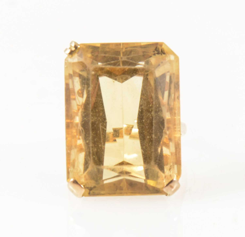 Lot 41-A citrine dress ring.