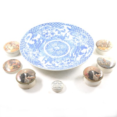 Lot 10-A large Chinese blue and white charger, seven Staffordshire pot lids, and decorative plates.