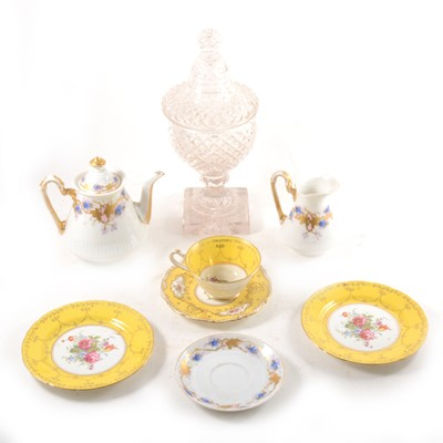 Lot 3-Victorian cut glass lidded jar, and a small selection of teawares.