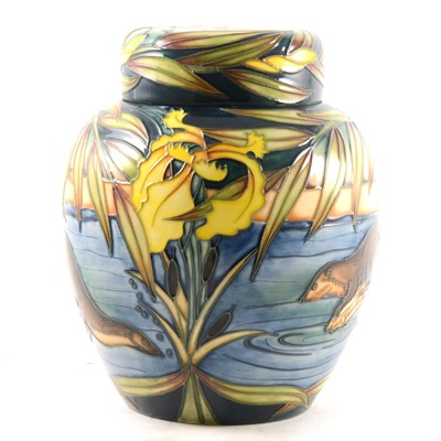 Lot 16-A 'River Otters' ginger jar and cover designed by Sian Leper for Moorcroft Pottery, 2005