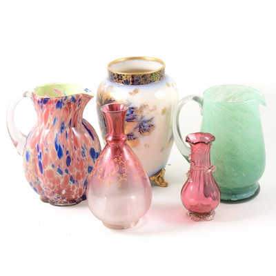 Lot 49-A selection of coloured glass and other ceramics