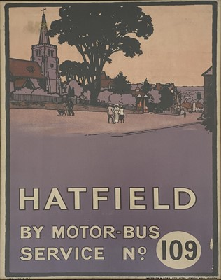 Lot 523-'Hatfield by Motor-bus Service no. 109', a lithographic travel poster