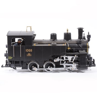 Lot 4-LGB electric, G scale, Swiss locomotive 0-6-0 plain black no.1068.