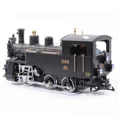 Lot 4-LGB electric, G scale, Swiss locomotive 0-6-0 plain black no.1068.