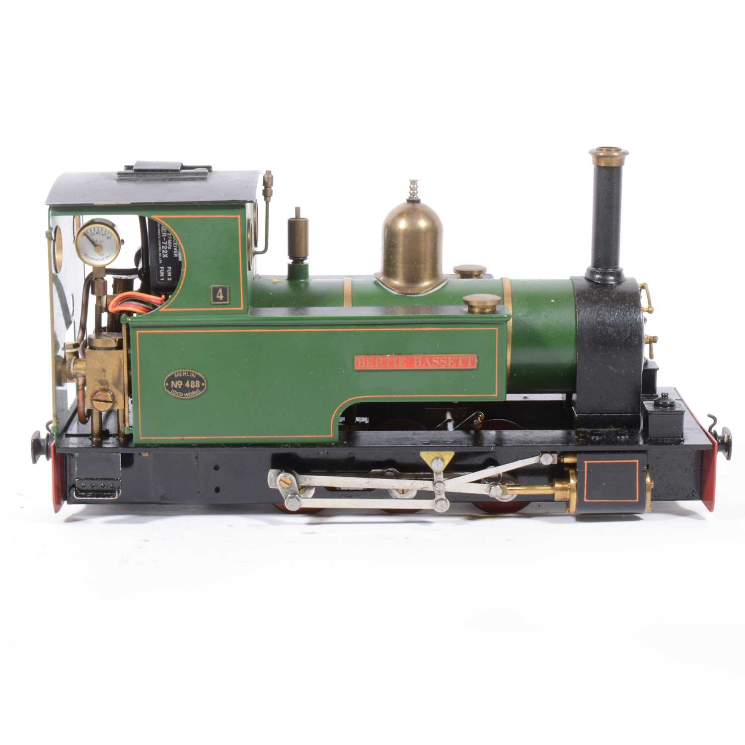 Lot 37-Merlin Loco Works live steam, gauge 1 / G scale, 45mm locomotive, Major 'Bertie Bassett' 0-6-0 no.488, green, with RC