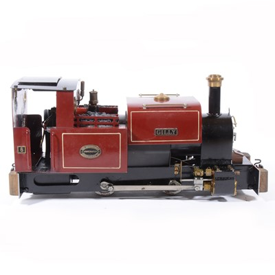 Lot 47 - Roundhouse live steam, gauge 1 / G scale, 32mm locomotive, 'Gilly' 0-4-0, maroon, in case.