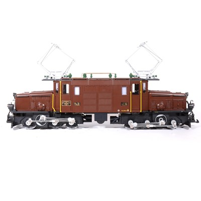 Lot 86-LGB electric, G scale, Crocodile locomotive, brown, no.25402, boxed.