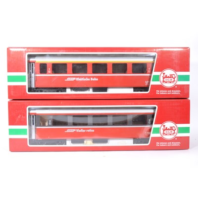Lot 92-Two LGB G scale, passenger coaches 'Rhatische Bahn', no.33670 and another similar no.34670, both boxed (2).