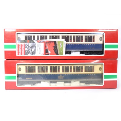 Lot 93-Two LGB G scale, passenger coaches Rhb 75 Jahre Glacier Express car, no.36650 and a similar no.36653 (x2), all boxed, (3).