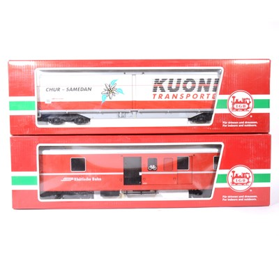 Lot 94-Two LGB G scale passenger coaches, RhB coach no.34690, sliding wall box 'Kuoni Transport' no.45570, both boxed, (2).