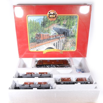 Lot 96-LGB electric, G scale, RhB Schotter-Zug extra premium locomotive and rolling stock, no.29452, boxed.