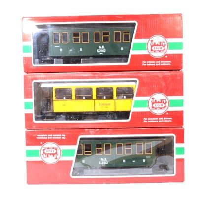 Lot 98 - Three LGB G scale, passenger coaches, no.30550, no.30340 (x2), all boxed, (3).