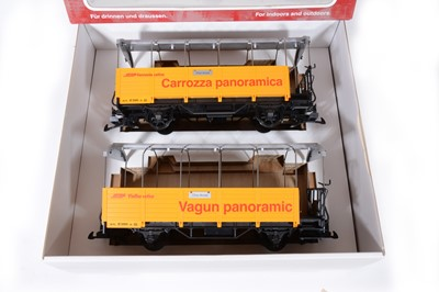 Lot 99 - LGB G scale, pair of sightseeing cars 'Rhaetian' railways, no.39250, boxed.