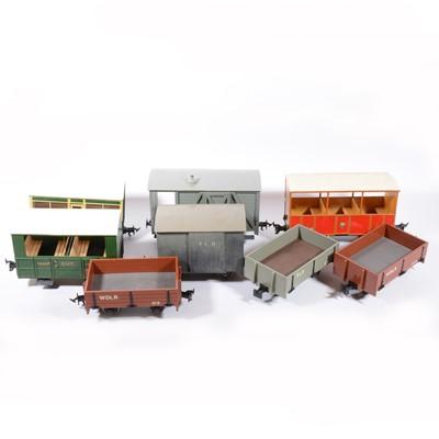 Lot 70 - Fifteen kit built gauge 1 / G gauge model railway rolling stock, including open wagons and brake vans.