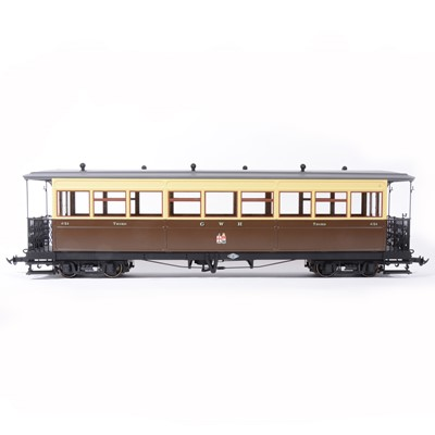 Lot 74-Accucraft gauge 1 / G scale, 45mm, GWR 3rd coach no.4154, and three other rolling stock, (4).