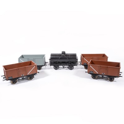 Lot 75-Nine Accucraft gauge 1 / G scale, 45mm, open wagons, rolling stock and tanker, (9).
