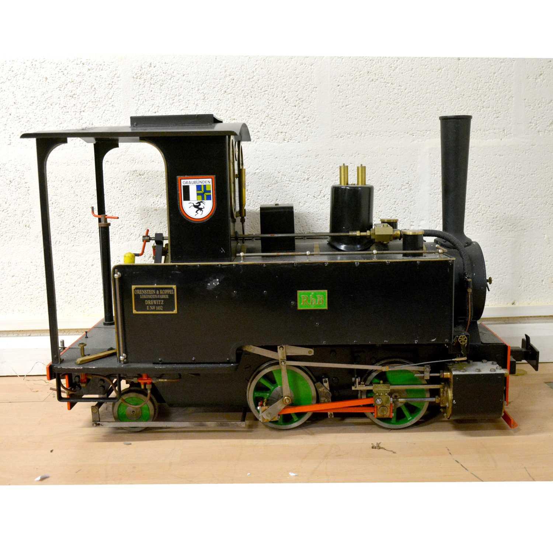 125 - Live steam 7 1/4 inch gauge locomotive, Orenstein & Koppel 0-4-2 tank engine, RhB no.1032, 83cm length.