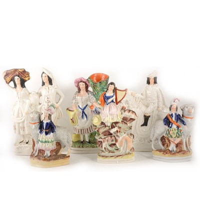 Lot 1006-Six various Staffordshire pottery figures