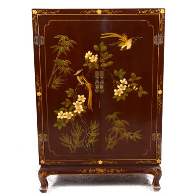 Lot 25-A Chinese brown lacquered side cabinet