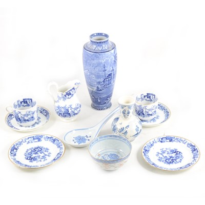 Lot 1034-A collection of blue and white ware, including a Maling printware vase