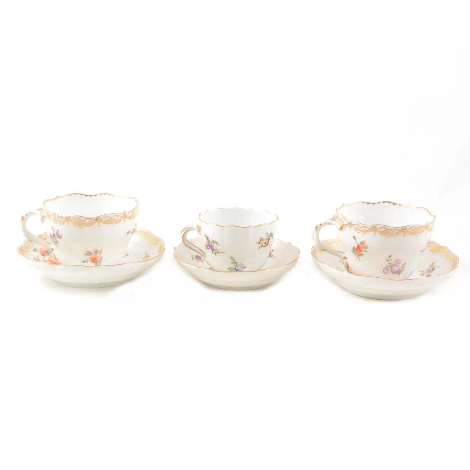 Lot 11-Meissen cabinet cup and saucer, second quality