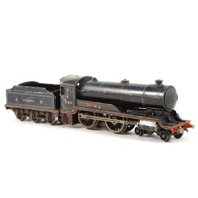 Lot 139 - A pre-war O gauge model of a Caledonian Railways 4-4-0 steam locomotive, no.440 dark blue livery with tender.