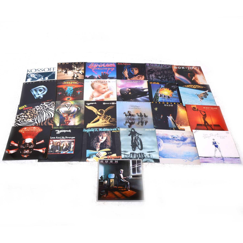 Lot 33-Rock and Heavy Metal vinyl LP records; twenty four including, Rush, Whitesnake, Van Halen, Def Leppard, Bon Jovi, Saxon, Boston etc.