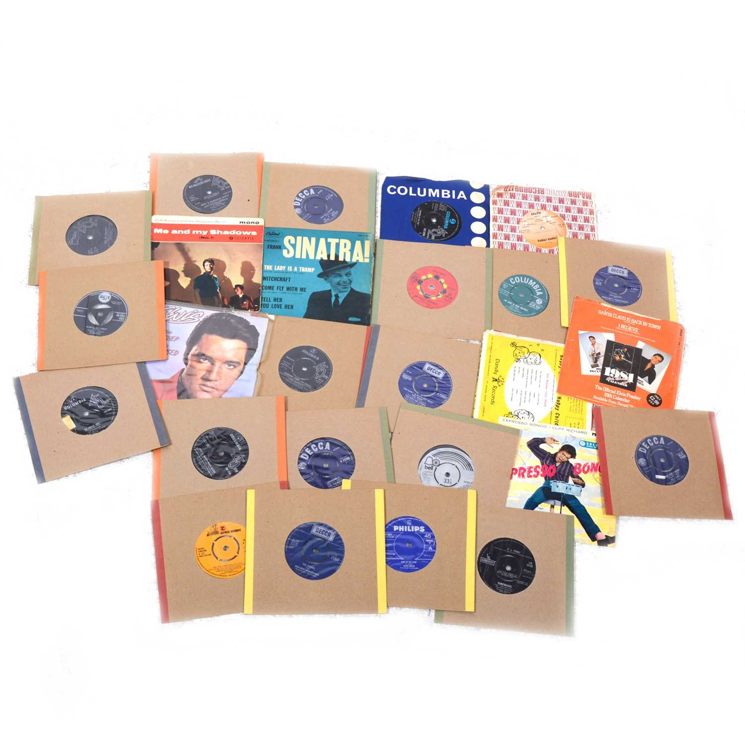 """Lot 35-Aprox 120+ 7"""" singles and 78s vinyl records; including The Beatles, Billy Fury, The Hollies, Shirley Bassey etc"""