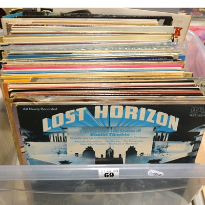 Lot 14-Aprox100 vinyl LP records; mostly film soundtrack, easy listening, and pop, including Elvis Presley, James Bond Theme Dr No, Disney's Fantasia etc.