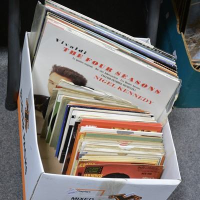 "Lot 42-Vinyl LP and 7"" single records; aprox 86 records including, Elvis Presley, Stevie Wonder, etc"