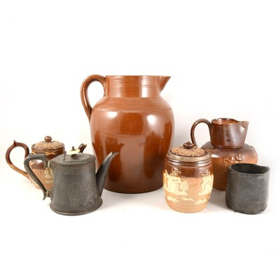 Lot 1046-A Doulton Lambeth stoneware tobacco jar, and other stoneware and pewter