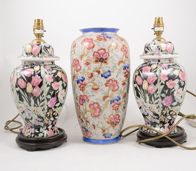 Lot 1055-A pair of contemporary lamp bases, another lamp base, and a vase