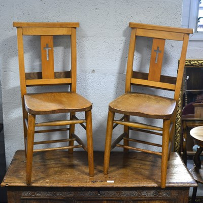 Lot 57-A set of six beech and mixed wood Chapel chairs