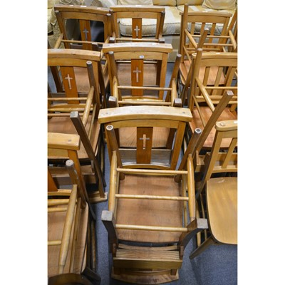 Lot 58-A set of six beech and mixed wood Chapel chairs