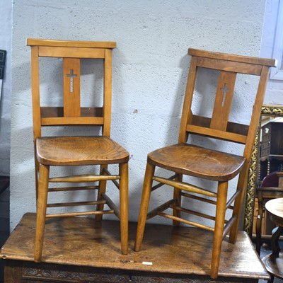 Lot 56-A set of five beech and mixed wood Chapel chairs