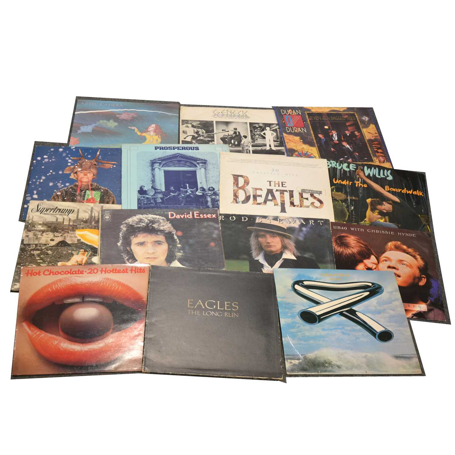 """Lot 28-One box of mixed vinyl LP and 12"""" single records; aprox seventy-six"""