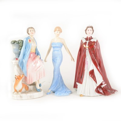 Lot 1004-Two Royal Doulton figures and a Worcester figure