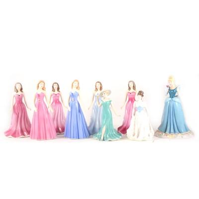 Lot 1031-Eight Royal Doulton figurines and a Coalport figurine