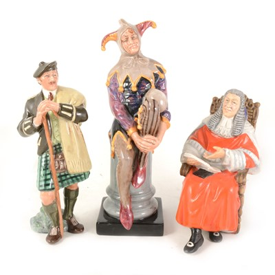 Lot 1009-Three Royal Doulton figures: HN2356; The Judge, HN2443; The Jester (modern), HN3261 Laird