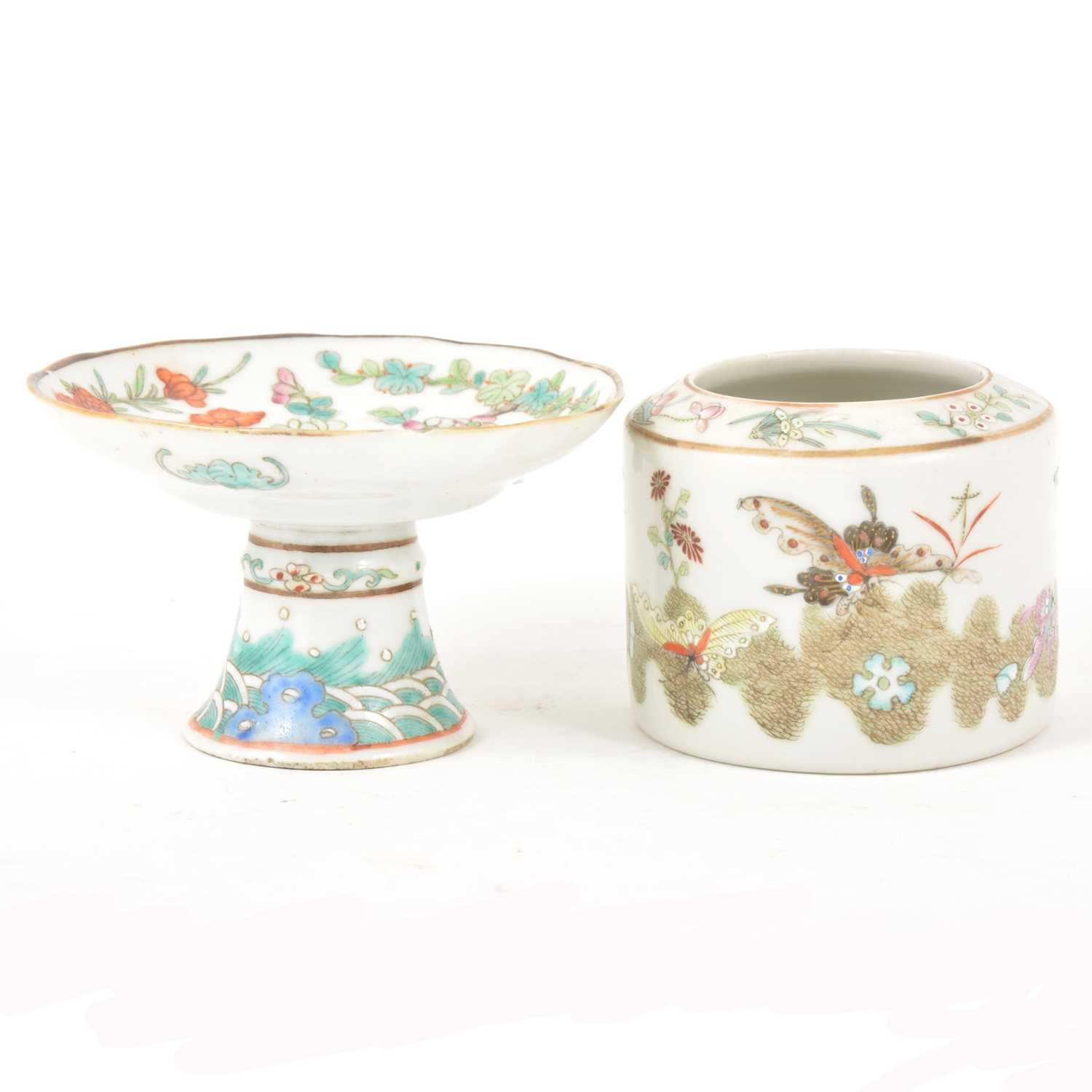 Lot 25-Chinese porcelain footed dish and a porcelain cylindrical jar