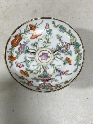 Lot 25 - Chinese porcelain footed dish and a porcelain cylindrical jar
