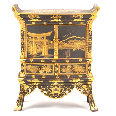 Lot 30 - A Japanese iron and gilt decorated Kodansu table cabinet, attributed to the Komai Company