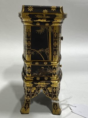 Lot 30-A Japanese iron and gilt decorated Kodansu table cabinet, attributed to the Komai Company