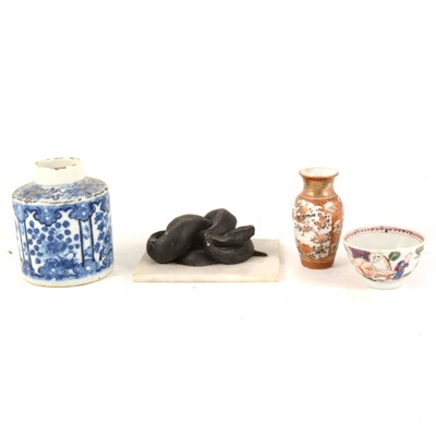 Lot 1027-A Chinese blue and white porcelain caddy, small teabowl, miniature Japanese vase, and a snake desk ornament