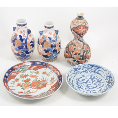 Lot 1051-Pair of Japanese pear-shaped vases, and others.