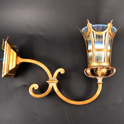 Lot 519-An English Edwardian brass and opalescent glass wall light