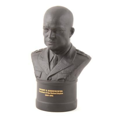 Lot 15-Wedgwood black basalt bust, Dwight D. Eisenhower, 23cm, boxed.