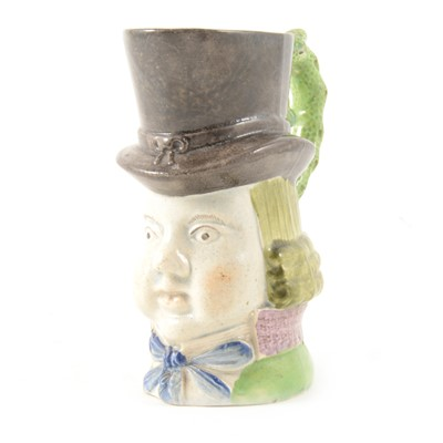 Lot 1-Staffordshire pearlware type character jug, John Liston as Paul Pry, 14cm.
