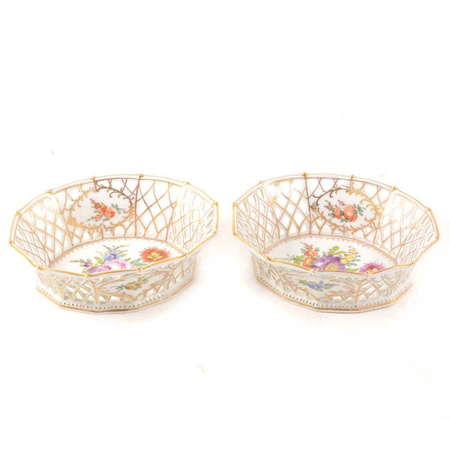 Lot 3-A pair of Dresden porcelain baskets