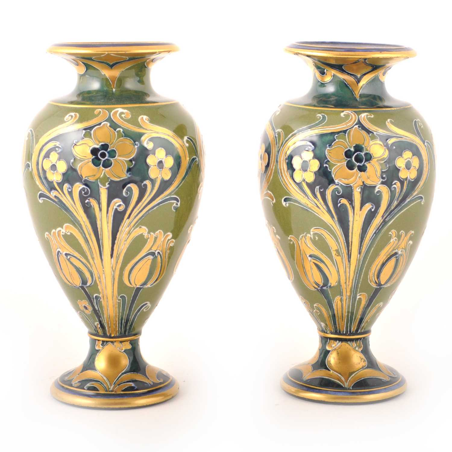 Lot 544-William Moorcroft for James Macintyre, a pair of 'Green and Gold' Florian Ware vases